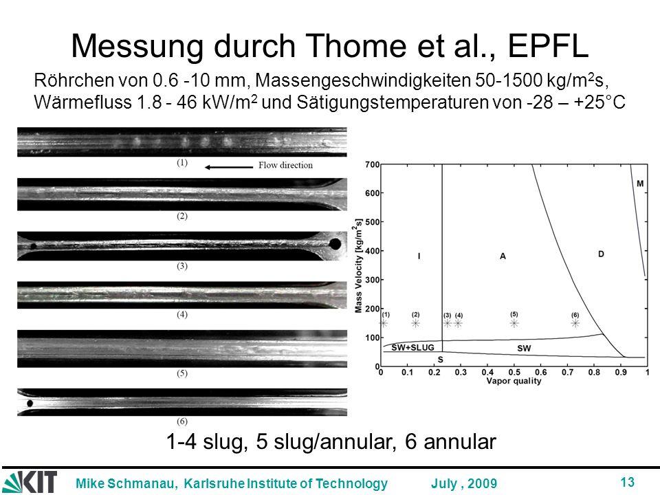Mike Schmanau, Karlsruhe Institute of Technology 13 July, 2009 Messung durch Thome et al., EPFL 1-4 slug, 5 slug/annular, 6 annular Röhrchen von 0.6 -10 mm, Massengeschwindigkeiten 50-1500 kg/m 2 s, Wärmefluss 1.8 - 46 kW/m 2 und Sätigungstemperaturen von -28 – +25°C