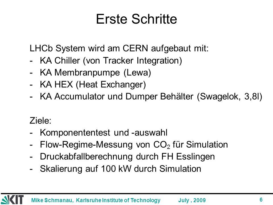 Mike Schmanau, Karlsruhe Institute of Technology 6 July, 2009 Erste Schritte LHCb System wird am CERN aufgebaut mit: -KA Chiller (von Tracker Integration) -KA Membranpumpe (Lewa) -KA HEX (Heat Exchanger) -KA Accumulator und Dumper Behälter (Swagelok, 3,8l) Ziele: -Komponententest und -auswahl -Flow-Regime-Messung von CO 2 für Simulation -Druckabfallberechnung durch FH Esslingen -Skalierung auf 100 kW durch Simulation
