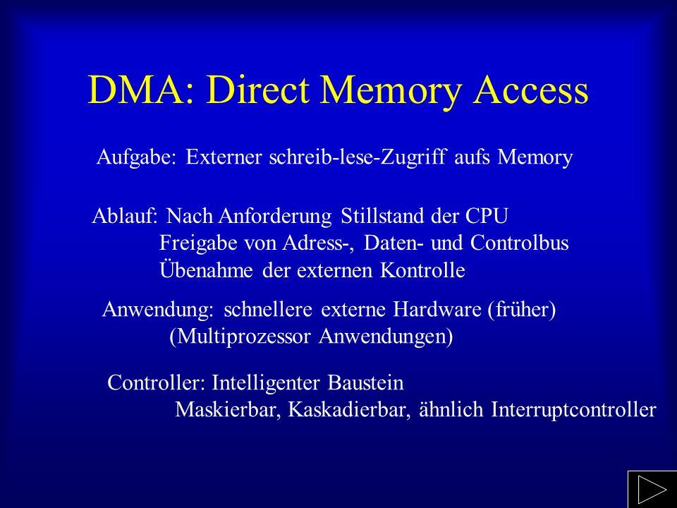 DMA: Direct Memory Access Aufgabe: Externer schreib-lese-Zugriff aufs Memory Ablauf: Nach Anforderung Stillstand der CPU Freigabe von Adress-, Daten- und Controlbus Übenahme der externen Kontrolle Anwendung: schnellere externe Hardware (früher) (Multiprozessor Anwendungen) Controller: Intelligenter Baustein Maskierbar, Kaskadierbar, ähnlich Interruptcontroller