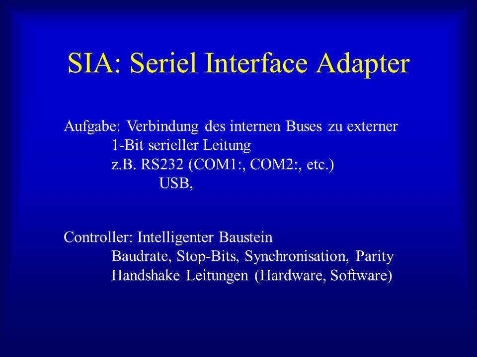 SIA: Seriel Interface Adapter Aufgabe: Verbindung des internen Buses zu externer 1-Bit serieller Leitung z.B. RS232 (COM1:, COM2:, etc.) USB, Controll