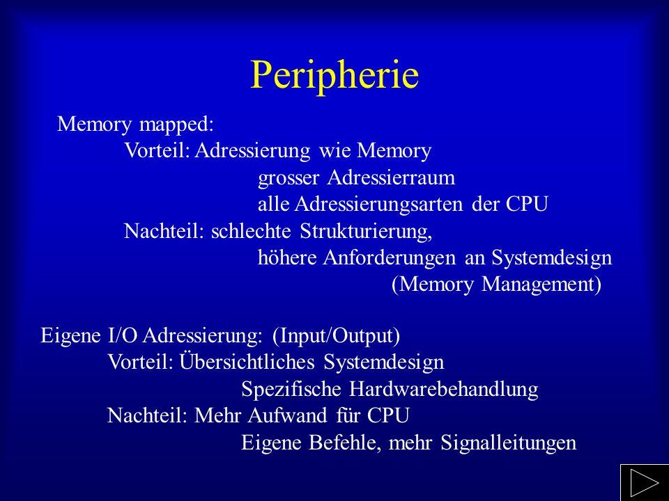 Peripherie Memory mapped: Vorteil: Adressierung wie Memory grosser Adressierraum alle Adressierungsarten der CPU Nachteil: schlechte Strukturierung, h