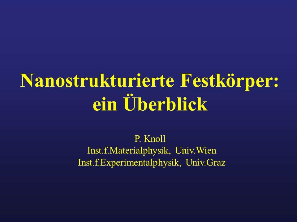 Nanostrukturierte Festkörper: ein Überblick P. Knoll Inst.f.Materialphysik, Univ.Wien Inst.f.Experimentalphysik, Univ.Graz