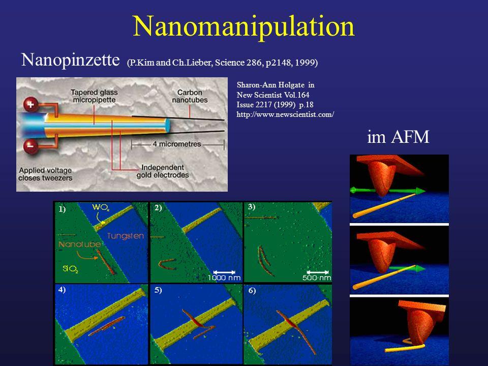 Nanomanipulation Nanopinzette (P.Kim and Ch.Lieber, Science 286, p2148, 1999) im AFM Sharon-Ann Holgate in New Scientist Vol.164 Issue 2217 (1999) p.1