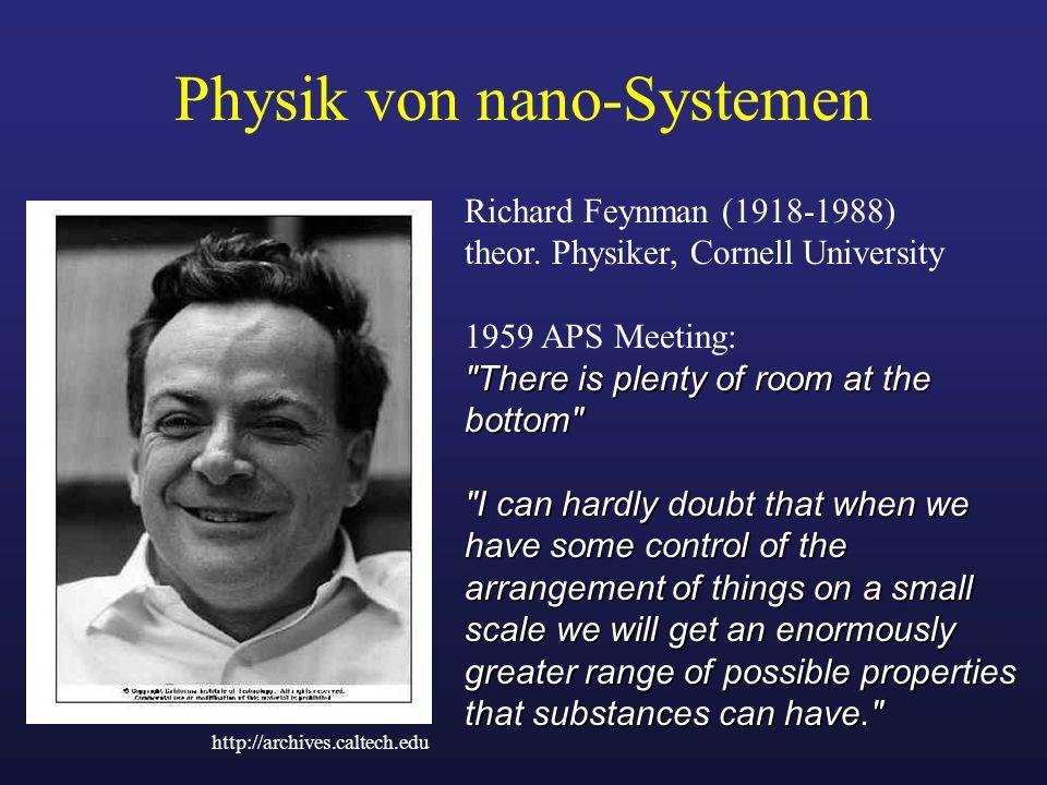 Physik von nano-Systemen Richard Feynman (1918-1988) theor. Physiker, Cornell University 1959 APS Meeting: