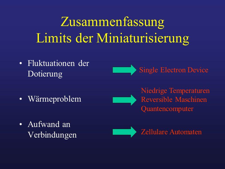 Zusammenfassung Limits der Miniaturisierung Fluktuationen der Dotierung Wärmeproblem Aufwand an Verbindungen Single Electron Device Niedrige Temperatu