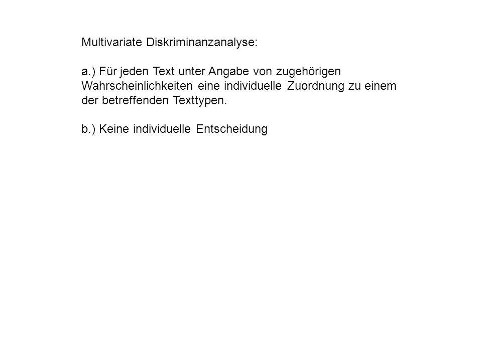 Multivariate Diskriminanzanalyse: a.) Für jeden Text unter Angabe von zugehörigen Wahrscheinlichkeiten eine individuelle Zuordnung zu einem der betreffenden Texttypen.