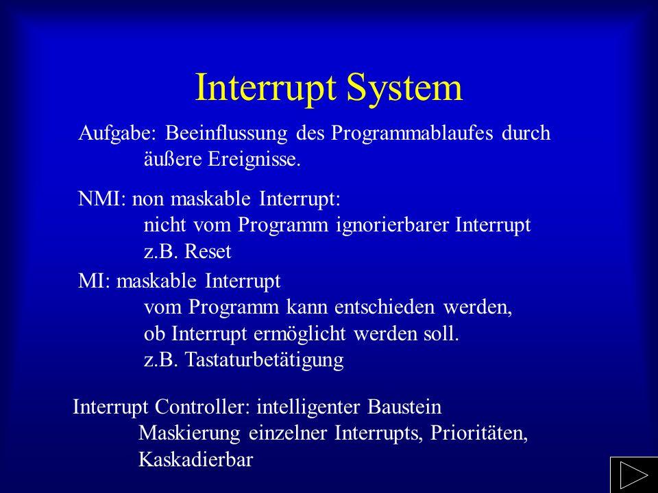 Interrupt System Aufgabe: Beeinflussung des Programmablaufes durch äußere Ereignisse.