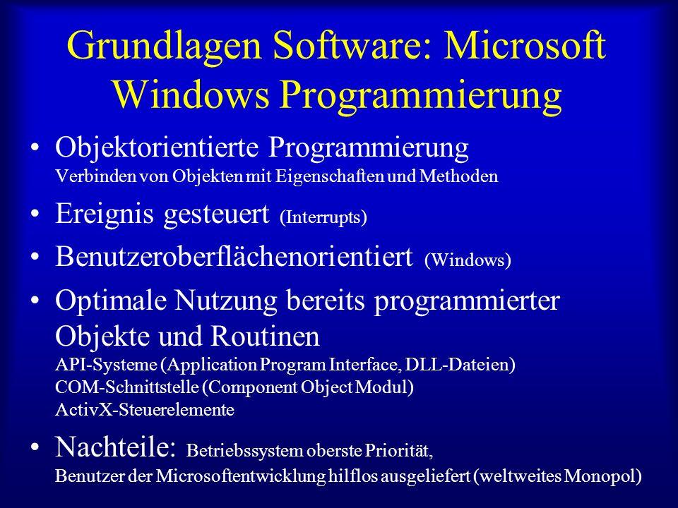Beispiele Visual Basic, (Delphi, Visual C++) Unix, Assembler Pascal Fortran