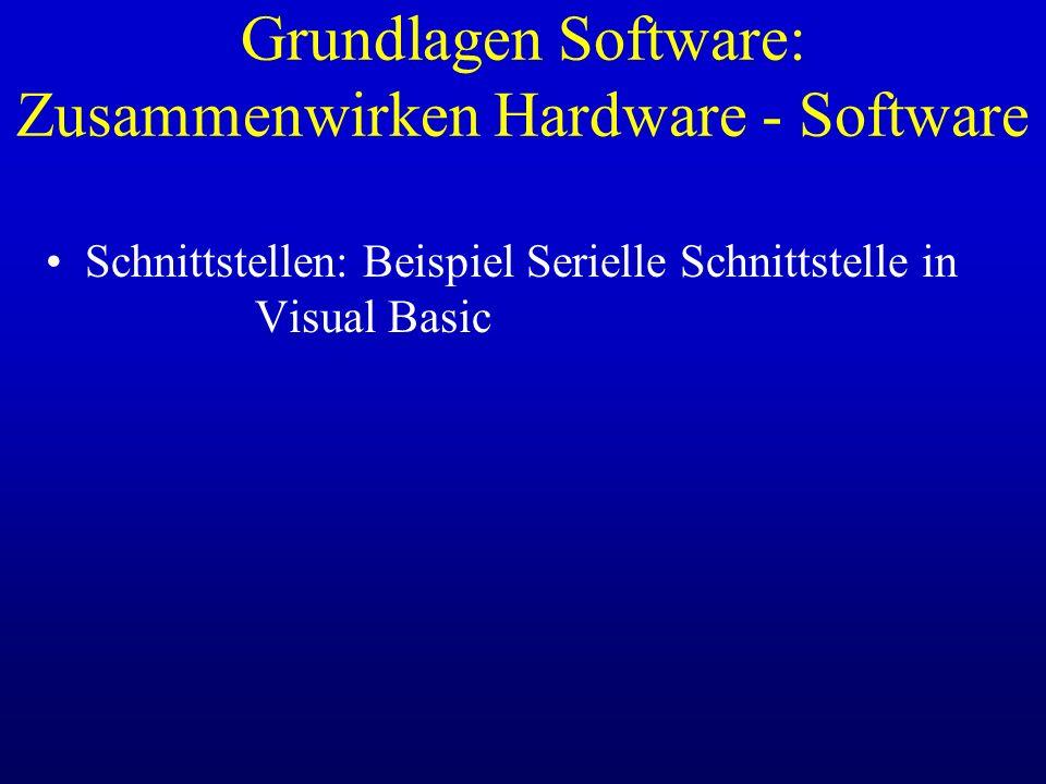 Grundlagen Software: Zusammenwirken Hardware - Software Schnittstellen: Beispiel Serielle Schnittstelle in Visual Basic