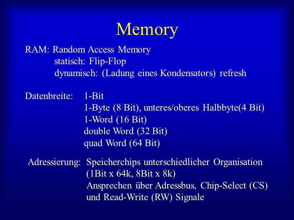 Memory RAM: Random Access Memory statisch: Flip-Flop dynamisch: (Ladung eines Kondensators) refresh Datenbreite: 1-Bit 1-Byte (8 Bit), unteres/oberes Halbbyte(4 Bit) 1-Word (16 Bit) double Word (32 Bit) quad Word (64 Bit) Adressierung:Speicherchips unterschiedlicher Organisation (1Bit x 64k, 8Bit x 8k) Ansprechen über Adressbus, Chip-Select (CS) und Read-Write (RW) Signale