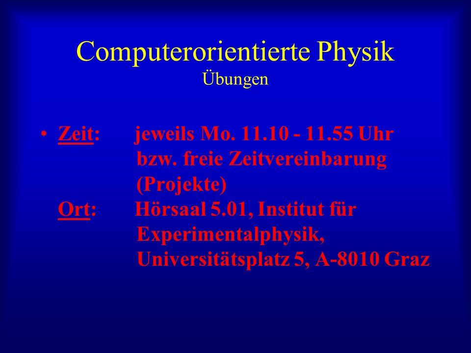Computerorientierte Physik Übungen Zeit: jeweils Mo. 11.10 - 11.55 Uhr bzw. freie Zeitvereinbarung (Projekte) Ort: Hörsaal 5.01, Institut für Experime