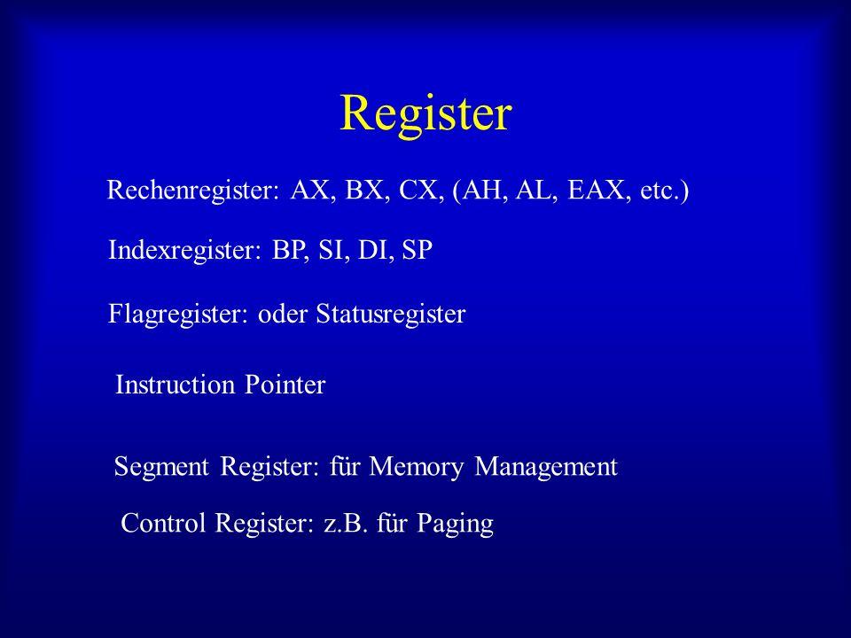 Register Rechenregister: AX, BX, CX, (AH, AL, EAX, etc.) Indexregister: BP, SI, DI, SP Flagregister: oder Statusregister Instruction Pointer Segment R