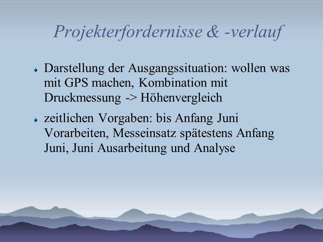 Projekterfordernisse & -verlauf Darstellung der Ausgangssituation: wollen was mit GPS machen, Kombination mit Druckmessung -> Höhenvergleich zeitlichen Vorgaben: bis Anfang Juni Vorarbeiten, Messeinsatz spätestens Anfang Juni, Juni Ausarbeitung und Analyse