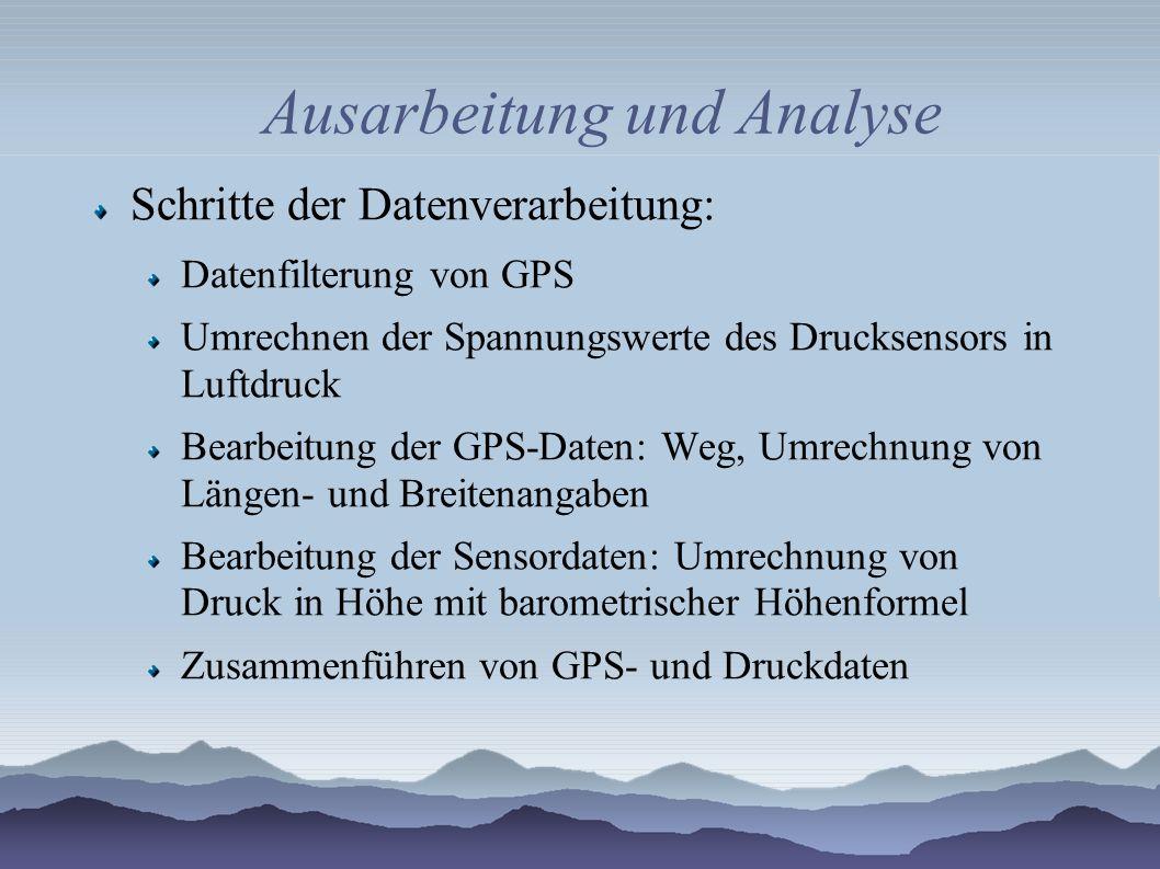 Ausarbeitung und Analyse Schritte der Datenverarbeitung: Datenfilterung von GPS Umrechnen der Spannungswerte des Drucksensors in Luftdruck Bearbeitung