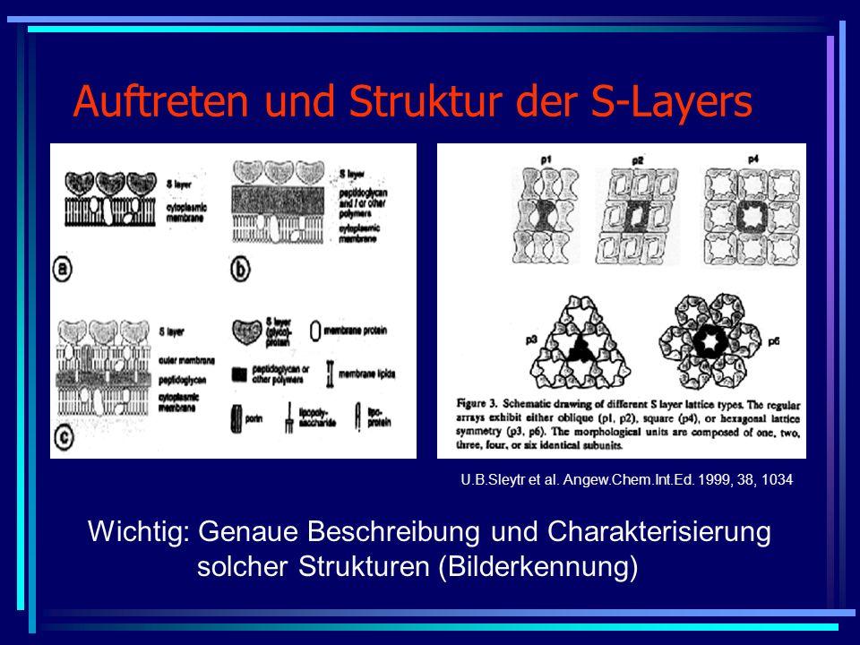 Auftreten und Struktur der S-Layers U.B.Sleytr et al. Angew.Chem.Int.Ed. 1999, 38, 1034 Wichtig: Genaue Beschreibung und Charakterisierung solcher Str