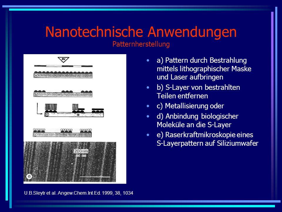 Nanotechnische Anwendungen Patternherstellung a) Pattern durch Bestrahlung mittels lithographischer Maske und Laser aufbringen b) S-Layer von bestrahl