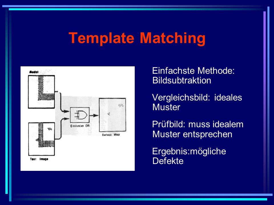 Template Matching Einfachste Methode: Bildsubtraktion Vergleichsbild: ideales Muster Prüfbild: muss idealem Muster entsprechen Ergebnis:mögliche Defek