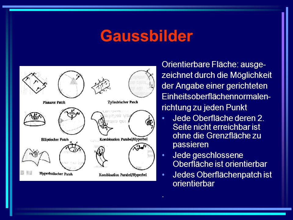 Gaussbilder Orientierbare Fläche: ausge- zeichnet durch die Möglichkeit der Angabe einer gerichteten Einheitsoberflächennormalen- richtung zu jeden Pu