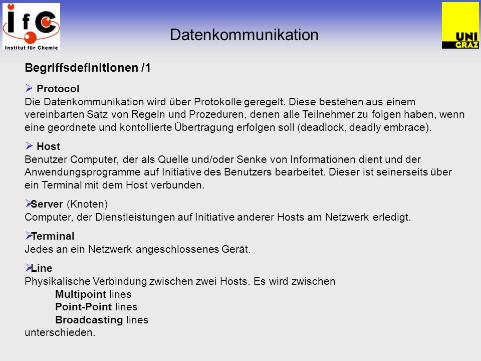 Datenkommunikation Begriffsdefinitionen /1 Protocol Die Datenkommunikation wird über Protokolle geregelt.