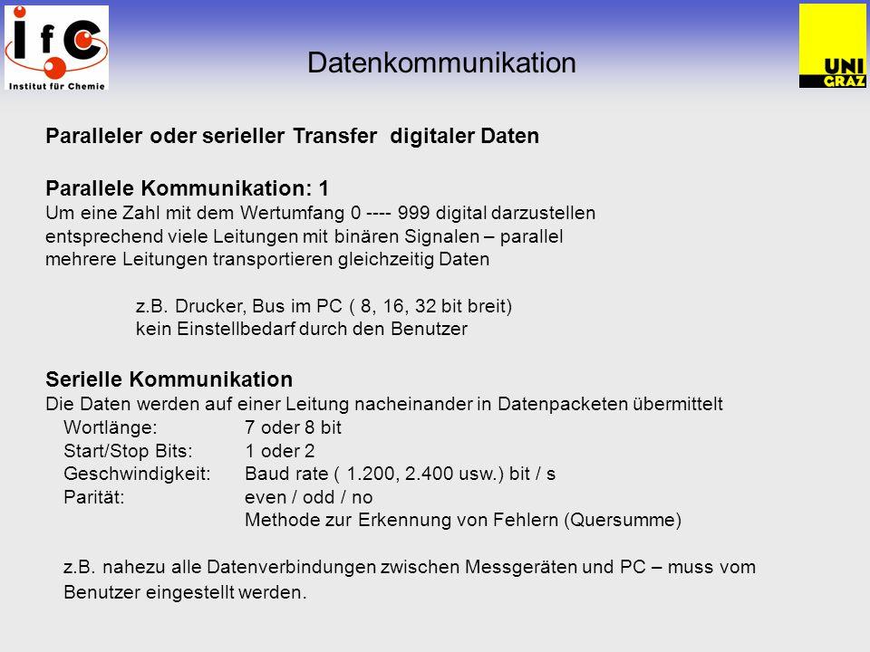 Datenkommunikation Paralleler oder serieller Transfer digitaler Daten Parallele Kommunikation: 1 Um eine Zahl mit dem Wertumfang 0 ---- 999 digital darzustellen entsprechend viele Leitungen mit binären Signalen – parallel mehrere Leitungen transportieren gleichzeitig Daten z.B.