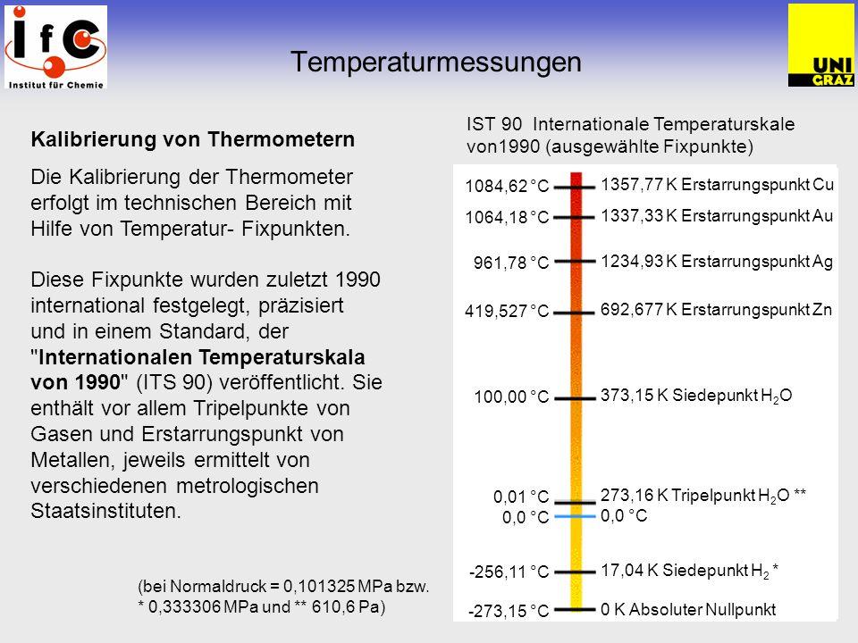 Temperaturmessungen Kalibrierung von Thermometern Die Kalibrierung der Thermometer erfolgt im technischen Bereich mit Hilfe von Temperatur- Fixpunkten