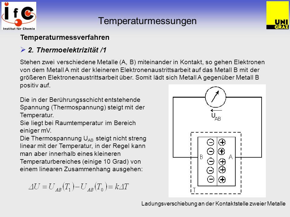 Temperaturmessungen Temperaturmessverfahren 2. Thermoelektrizität /1 Stehen zwei verschiedene Metalle (A, B) miteinander in Kontakt, so gehen Elektron