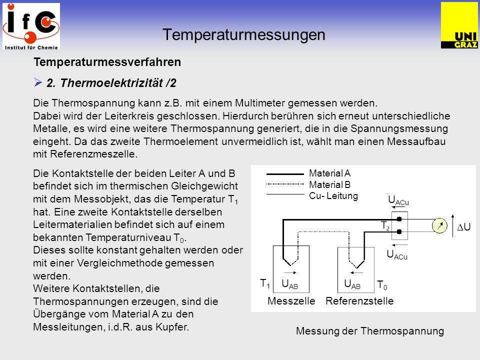 Temperaturmessungen Temperaturmessverfahren 2. Thermoelektrizität /2 Die Thermospannung kann z.B. mit einem Multimeter gemessen werden. Dabei wird der