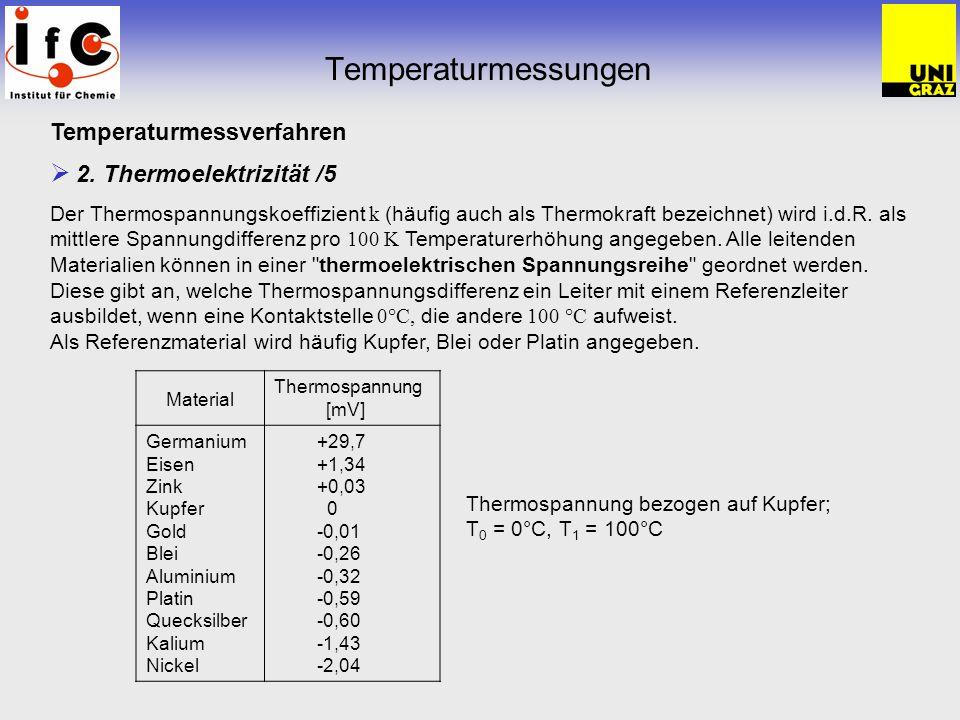 Temperaturmessungen Temperaturmessverfahren 2. Thermoelektrizität /5 Der Thermospannungskoeffizient k (häufig auch als Thermokraft bezeichnet) wird i.