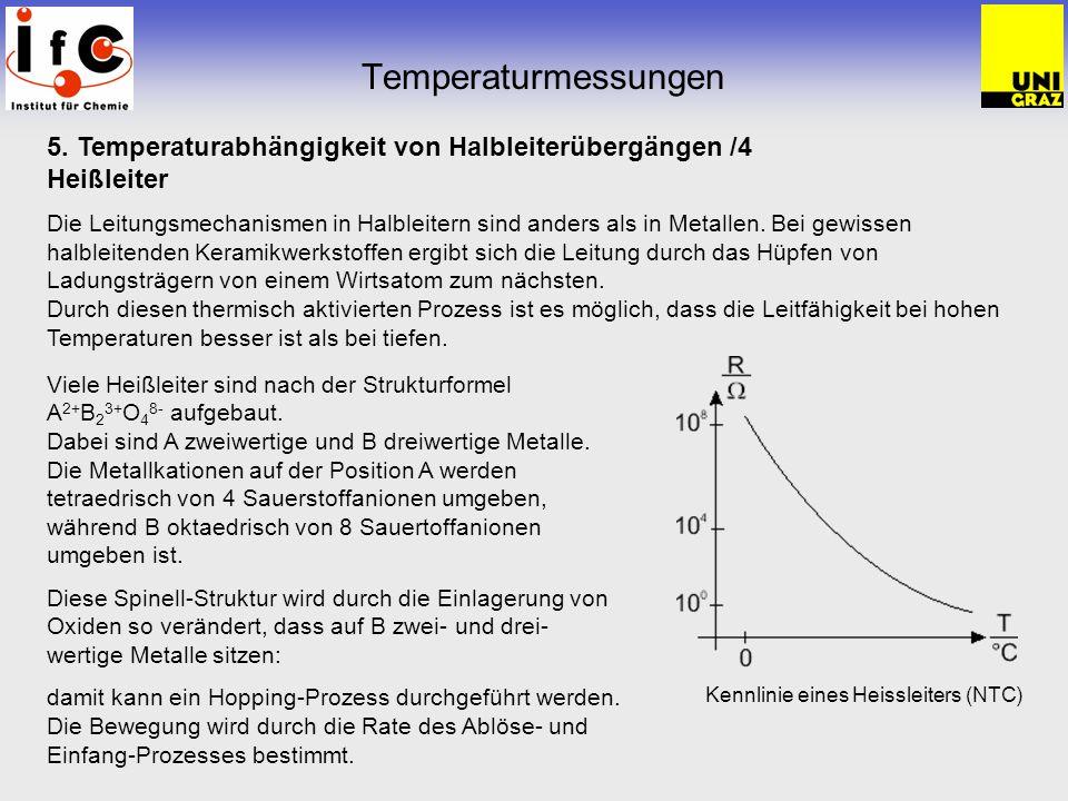 Temperaturmessungen 5. Temperaturabhängigkeit von Halbleiterübergängen /4 Heißleiter Die Leitungsmechanismen in Halbleitern sind anders als in Metalle