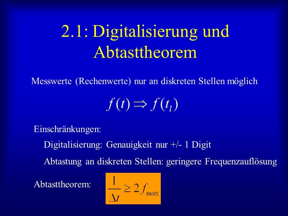 2.1: Digitalisierung und Abtasttheorem Messwerte (Rechenwerte) nur an diskreten Stellen möglich Einschränkungen: Digitalisierung: Genauigkeit nur +/- 1 Digit Abtastung an diskreten Stellen: geringere Frequenzauflösung Abtasttheorem: