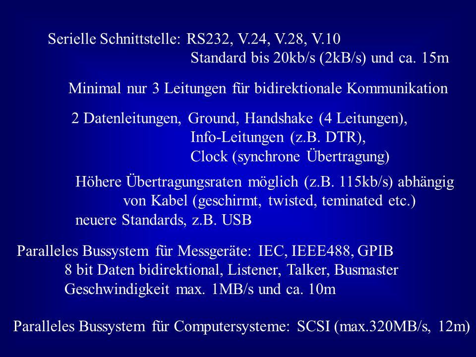 Serielle Schnittstelle: RS232, V.24, V.28, V.10 Standard bis 20kb/s (2kB/s) und ca. 15m Minimal nur 3 Leitungen für bidirektionale Kommunikation 2 Dat