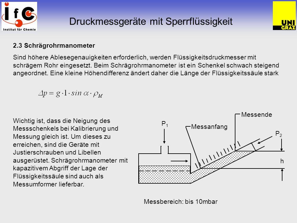 2.3 Schrägrohrmanometer Sind höhere Ablesegenauigkeiten erforderlich, werden Flüssigkeitsdruckmesser mit schrägem Rohr eingesetzt. Beim Schrägrohrmano