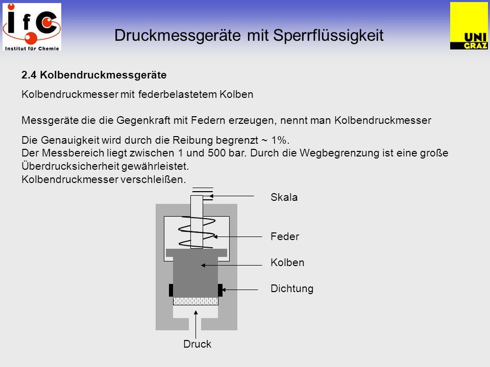 2.4 Kolbendruckmessgeräte Kolbendruckmesser mit federbelastetem Kolben Messgeräte die die Gegenkraft mit Federn erzeugen, nennt man Kolbendruckmesser