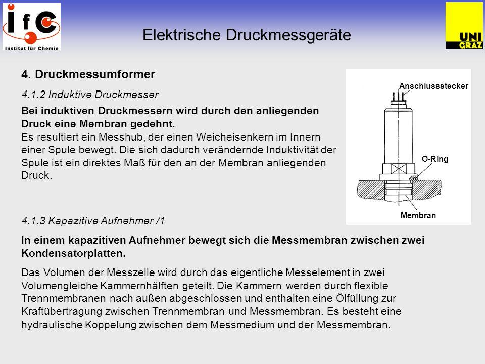 4. Druckmessumformer 4.1.2 Induktive Druckmesser Bei induktiven Druckmessern wird durch den anliegenden Druck eine Membran gedehnt. Es resultiert ein