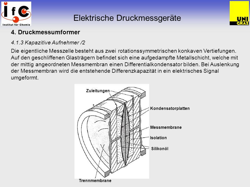 4. Druckmessumformer 4.1.3 Kapazitive Aufnehmer /2 Die eigentliche Messzelle besteht aus zwei rotationssymmetrischen konkaven Vertiefungen. Auf den ge