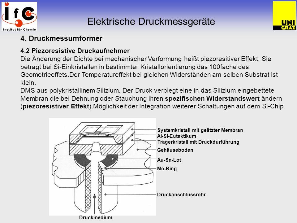 Elektrische Druckmessgeräte 4. Druckmessumformer 4.2 Piezoresistive Druckaufnehmer Die Änderung der Dichte bei mechanischer Verformung heißt piezoresi