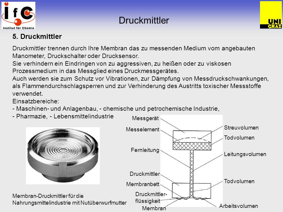 Druckmittler 5. Druckmittler Druckmittler trennen durch Ihre Membran das zu messenden Medium vom angebauten Manometer, Druckschalter oder Drucksensor.