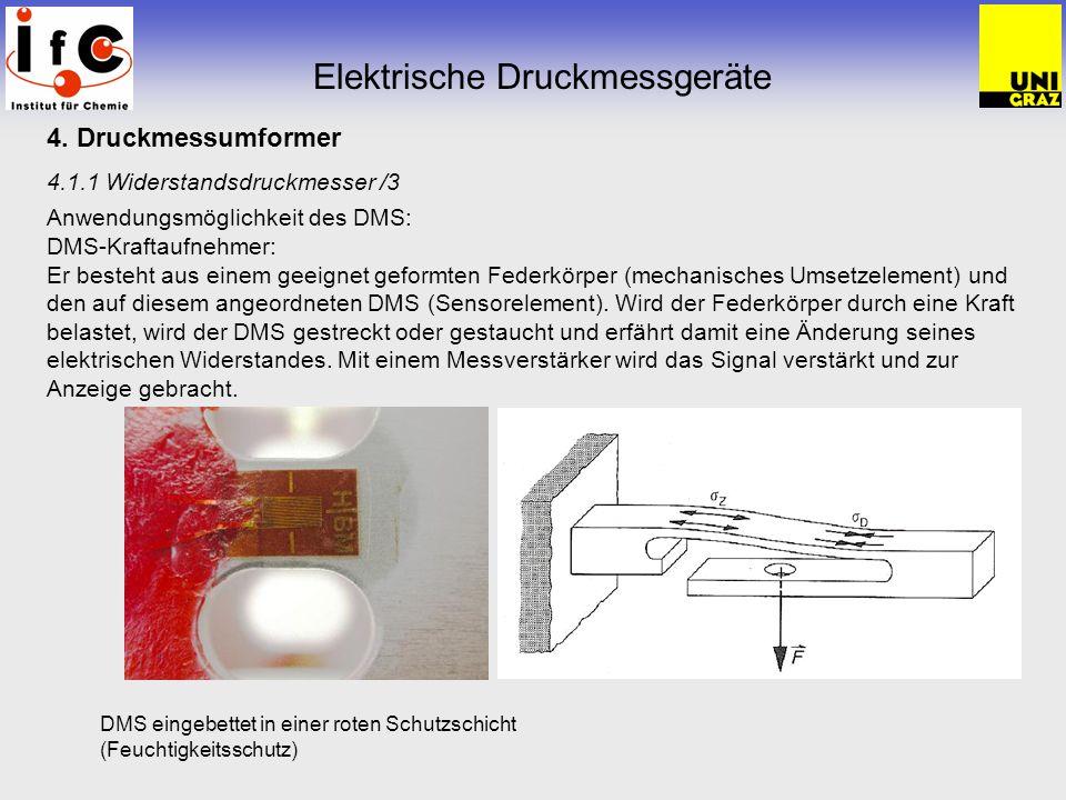 4. Druckmessumformer 4.1.1 Widerstandsdruckmesser /3 Anwendungsmöglichkeit des DMS: DMS-Kraftaufnehmer: Er besteht aus einem geeignet geformten Federk