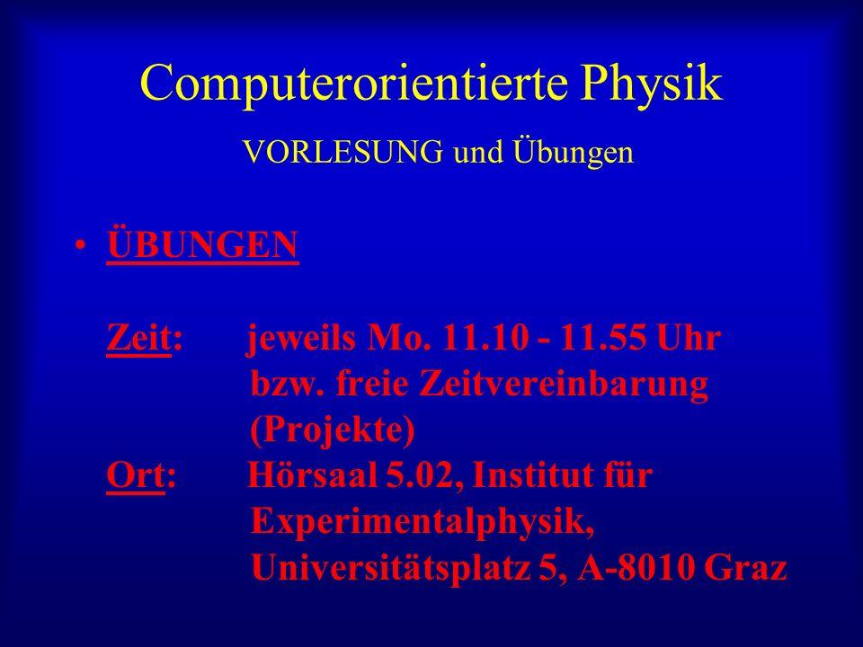 Computerorientierte Physik VORLESUNG und Übungen ÜBUNGEN Zeit: jeweils Mo.