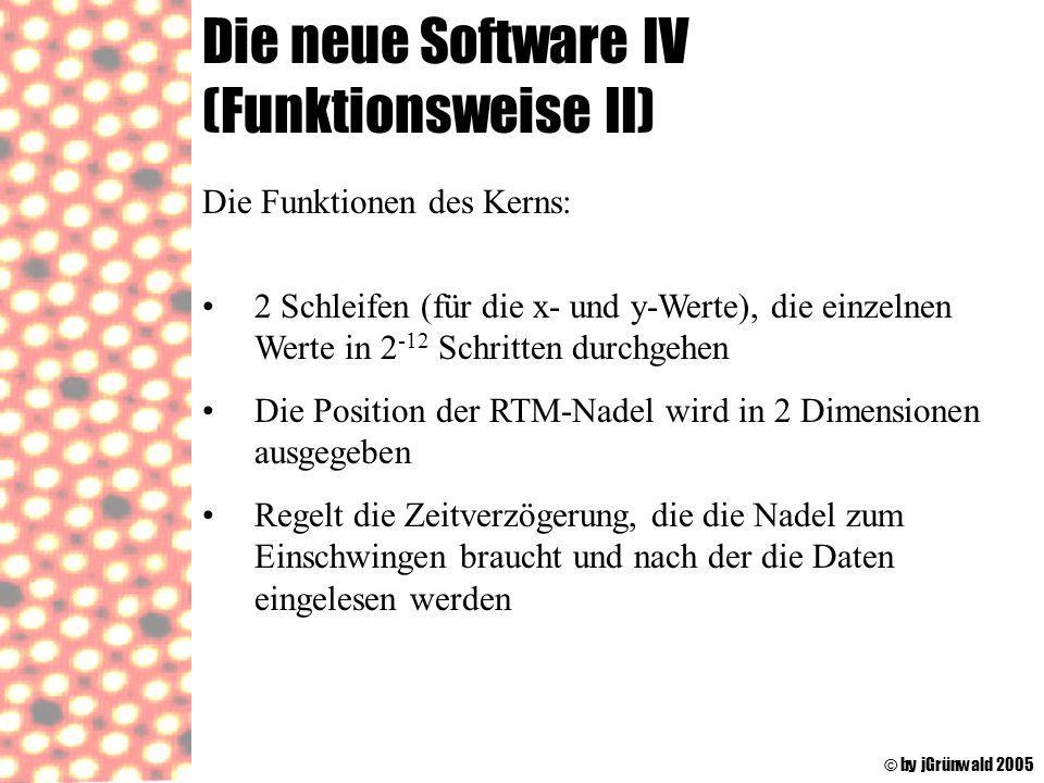 Die neue Software IV (Funktionsweise II) © by jGrünwald 2005 Die Funktionen des Kerns: 2 Schleifen (für die x- und y-Werte), die einzelnen Werte in 2