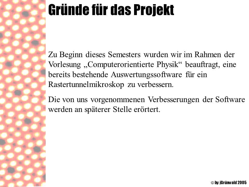 Gründe für das Projekt © by jGrünwald 2005 Zu Beginn dieses Semesters wurden wir im Rahmen der Vorlesung Computerorientierte Physik beauftragt, eine b