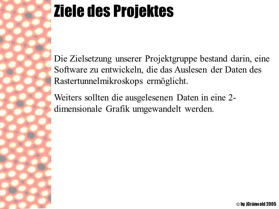 Ziele des Projektes © by jGrünwald 2005 Die Zielsetzung unserer Projektgruppe bestand darin, eine Software zu entwickeln, die das Auslesen der Daten d