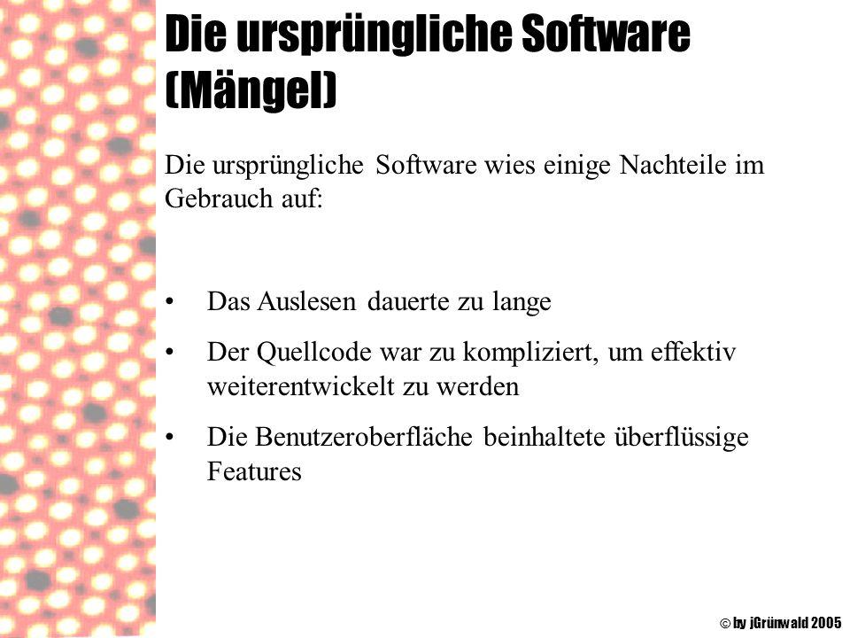 Die ursprüngliche Software (Mängel) © by jGrünwald 2005 Die ursprüngliche Software wies einige Nachteile im Gebrauch auf: Das Auslesen dauerte zu lang