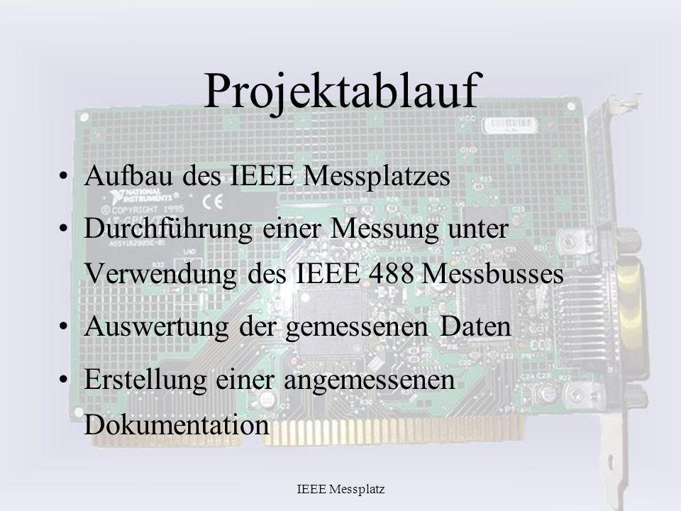 IEEE Messplatz Projektablauf Aufbau des IEEE Messplatzes Durchführung einer Messung unter Verwendung des IEEE 488 Messbusses Auswertung der gemessenen