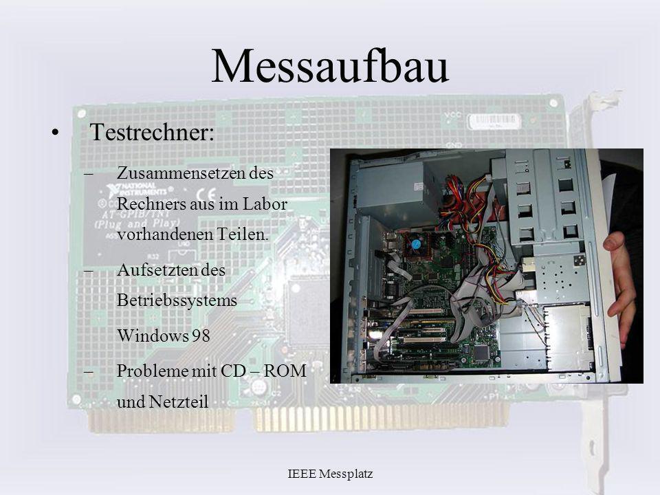IEEE Messplatz Messaufbau Testrechner: –Zusammensetzen des Rechners aus im Labor vorhandenen Teilen. –Aufsetzten des Betriebssystems Windows 98 –Probl