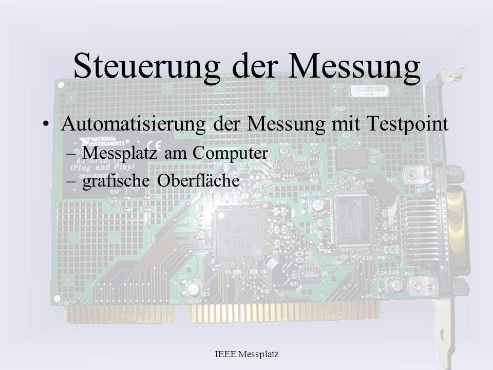 IEEE Messplatz Steuerung der Messung Automatisierung der Messung mit Testpoint –Messplatz am Computer –grafische Oberfläche