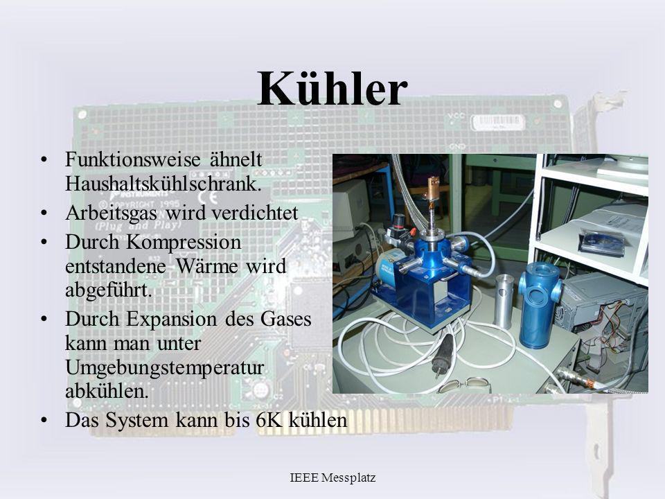 IEEE Messplatz Kühler Funktionsweise ähnelt Haushaltskühlschrank. Arbeitsgas wird verdichtet Durch Kompression entstandene Wärme wird abgeführt. Durch