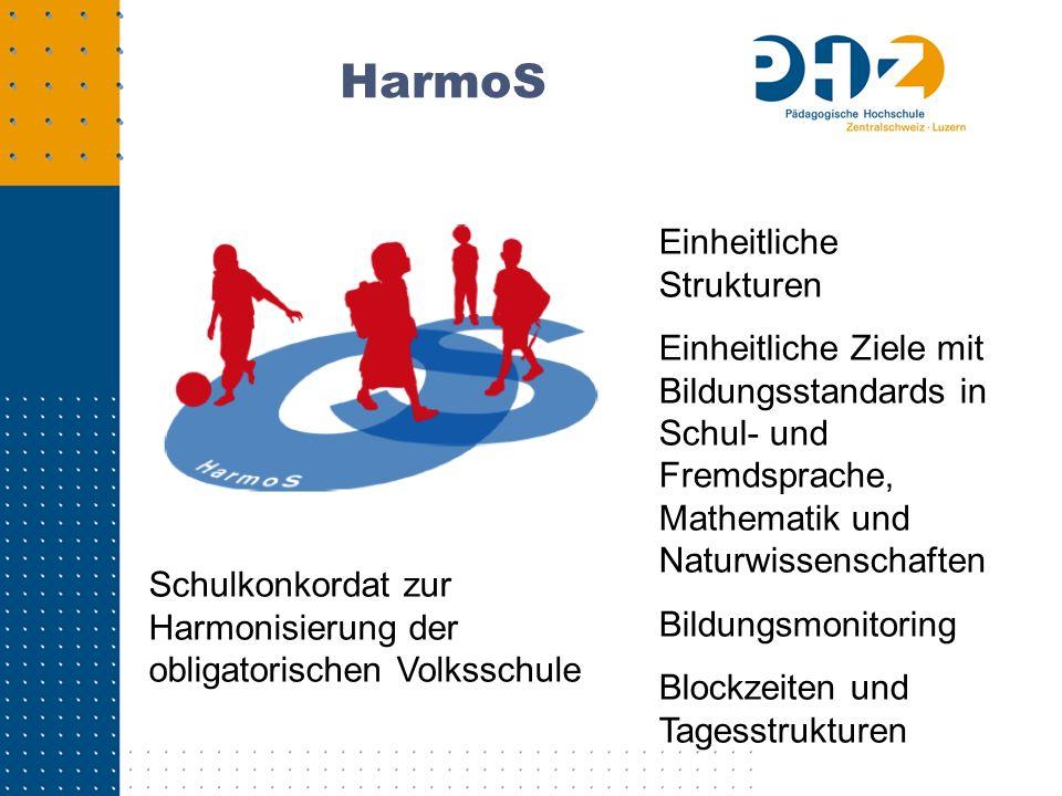 HarmoS Schulkonkordat zur Harmonisierung der obligatorischen Volksschule Einheitliche Strukturen Einheitliche Ziele mit Bildungsstandards in Schul- un