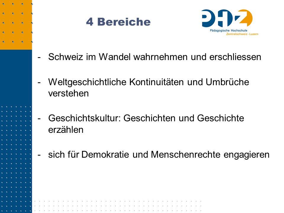 4 Bereiche -Schweiz im Wandel wahrnehmen und erschliessen -Weltgeschichtliche Kontinuitäten und Umbrüche verstehen -Geschichtskultur: Geschichten und