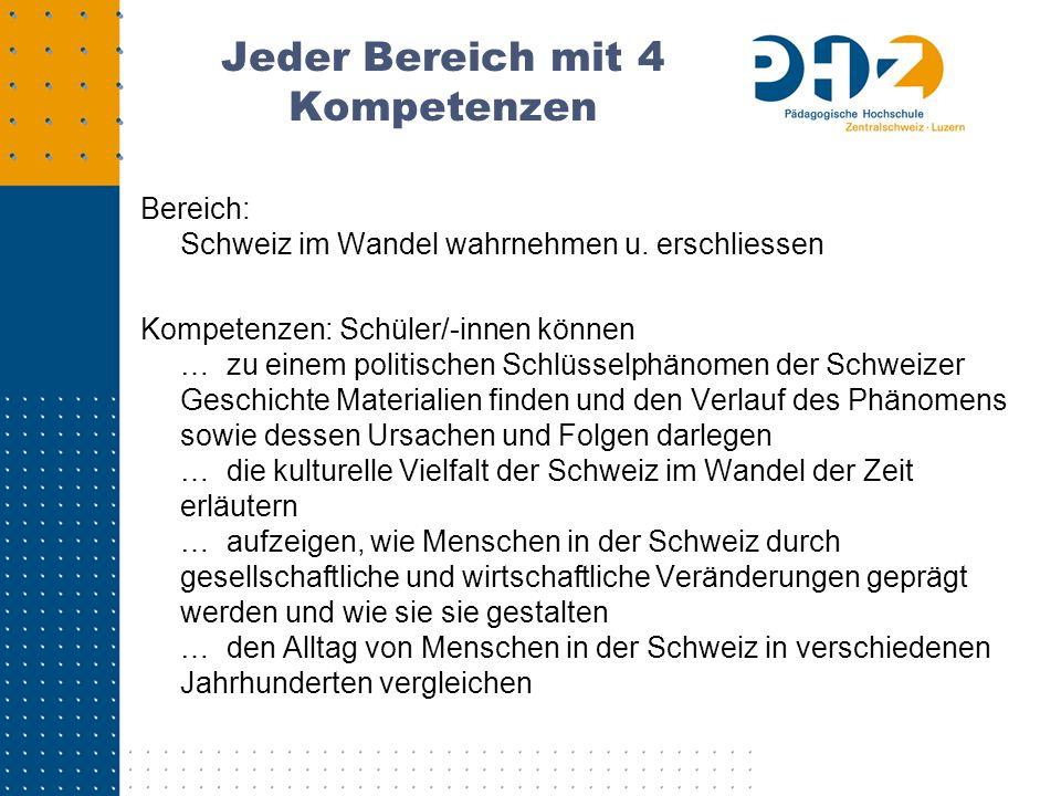 Jeder Bereich mit 4 Kompetenzen Bereich: Schweiz im Wandel wahrnehmen u. erschliessen Kompetenzen: Schüler/-innen können … zu einem politischen Schlüs